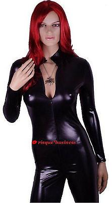 SECOND Black PVC-Look Catsuit Bodysuit Catwoman Fancy Dress Costume - XL 14-16 - Black Catwoman Bodysuit