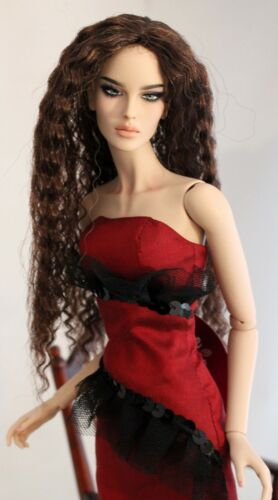 Long Auburn Wavy Wig size 4 Shown on Modsdoll - Giselle Modacrylic