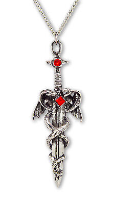 - Dragons Wrapped Around Sword Medieval Renaissance Pendant Necklace NK-414