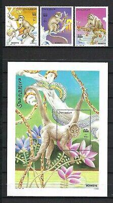 Somalia 2002 Mi#942-4, #945 Block 90 Monkeys  MNH Stamp/Souvenir Sheet Set $33.35