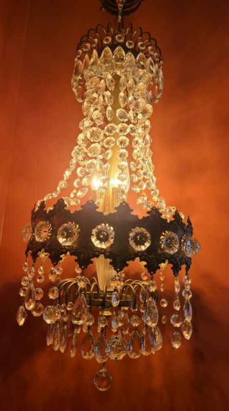 Beautiful Antique Brass & Crystal Swag Chandelier Ceiling Light with Extras!