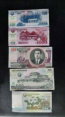 North Korean Banknote Set of 200, 500, 1000, 2000 & 5000 won true real!!
