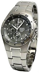SEIKO MENS TITANIUM SPORTS MULTIFUNCTION CHRONO GREY DIAL QUARTZ WATCH SND419P1