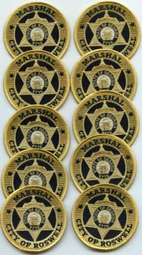 ROSWELL GEORGIA Patch Lot Trade Stock 10 Police Patches MARSHAL police PATCH
