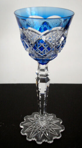 VAL ST LAMBERT VERREPT LT BLUE CASED CUT CLEAR CRYSTAL RHINE WINE GOBLET SIGNED