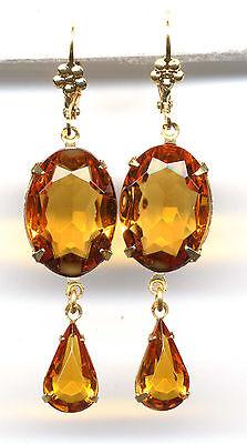AMBER TOPAZ oval cut-crystal Teardrop Earrings 14K Gold gp Art Deco *Vtg Czech