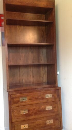 2 pc Henredon Campaign  Style Book Case Dresser Chest  Hutch Set - Local Pick-up