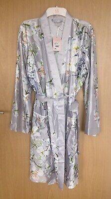 B by Ted Baker - Grey Floral  'Graceful'  Dressing Gown Size 12-14 BNWT £40