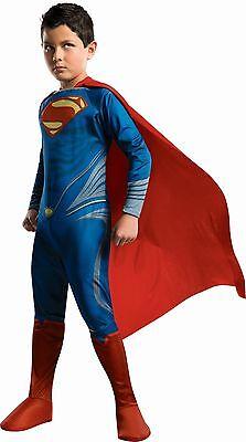 Boys Superman Costume Halloween Superhero Cape Super Man S M L Child Kids NEW (Boy Superman Costume)