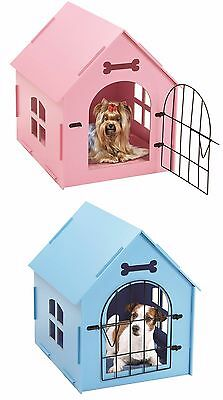 (Pet House Crate Small Dog Cat Wooden Kennel Indoor Home Shelter Bed Mat PINK BLU)