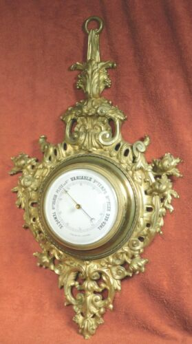 Antique Golden Bronze Cartel Clock Case French Aneroid Wall barometer Louis XVI