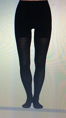 Spanx Diamond Stripe Pattern Control Top Black Tights Size -