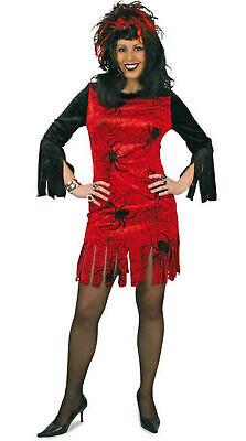 Halloween Kostüm Kleid Damen mit Spinnen Hexe Spider Gr.38-44 Karneval Halloween ()