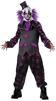 ADULT PURPLE BEARDED CLOWN EVIL SCARY HALLOWEEN COSTUME DRESS SIZE XL (Mr Evil Kostüm)