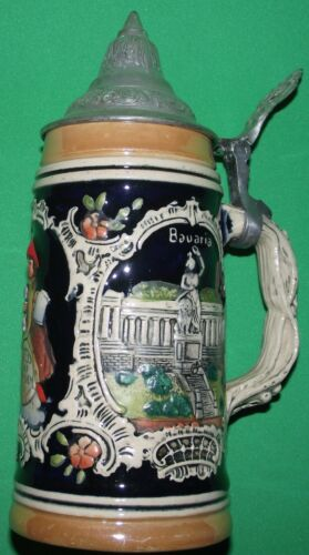 "VINTAGE GERMAN BEER STEIN WEST GERMANY BAVARIA MUNICH 5-1/2"" 100% AUTHENTIC"