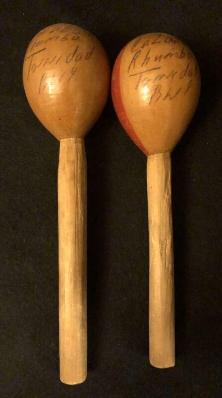 "Vintage Handmade Calabash Rumba ""Rhumba"" Trinidad Maracas Signed 9.5"" Primitive"