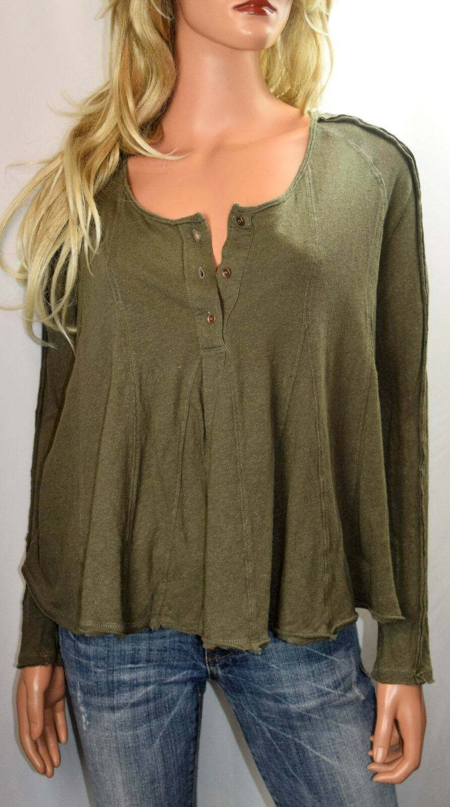 NWT FREE PEOPLE Anthropologie Size L LITA Embroidered Cotton//Linen knit Top