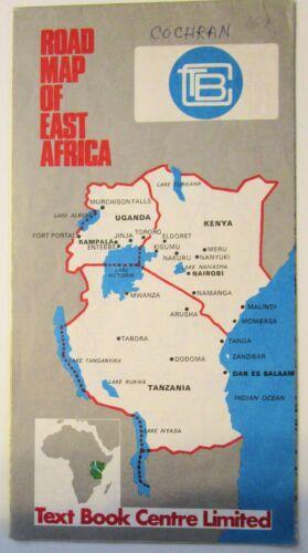 """Huge Vintage 23"""" by 30"""" Road Map of East Africa Tanzania, Kenya, Uganda, c1970s"""