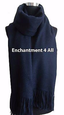 "New Elegant Large 80""x28"" Navy Blue 4-Ply 100% Pure Cashmere Women Shawl Wrap"
