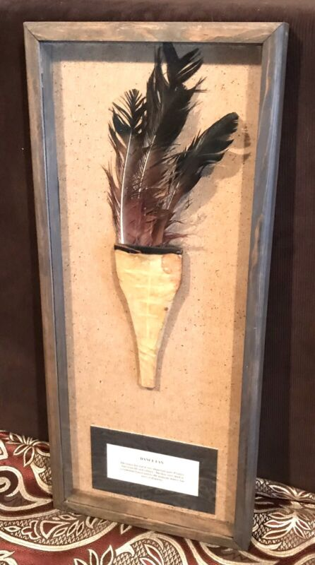 Vintage Antique Early Native Americans Ceremonial Dance Fan Shadowbox Old