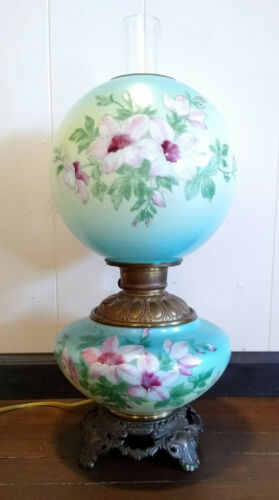 Antique Victorian GWTW Gone With The Wind Blue/Pink Floral Oil Lamp Electrified