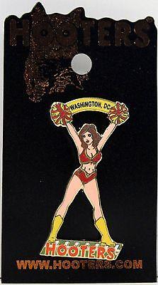 NEW HOOTERS RESTAURANT CHEERLEADER BANNER GIRL LAPEL PIN - WASHINGTON, DC