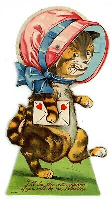 Valentines Day -HUMANIZED CAT WITH LETTER- Early Mechanical Card](Cat Valentines)