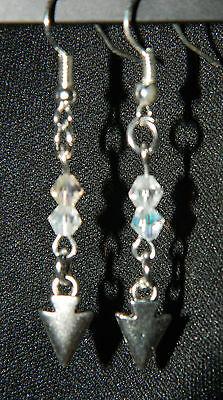 Handmade Crystal Silver Arrowhead DANGLE EARRINGS Country Western U PICK COLORS ()