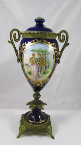 Antique Royal Vienna France Porcelain Bronze Mounts Covered Urn Hand Painted