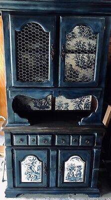 Vintage farmhouse hutch antiqued blue withchocken wire