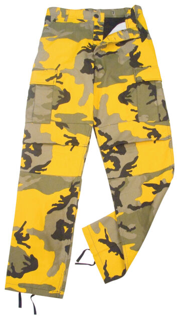 Stinger Yellow Camo Military Cargo Fatigue BDU Pants Polyester Cot ...