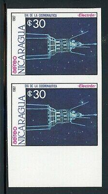 NICARAGUA SPACE Specialized: Scott #1659 30C Cosmonaut Day IMPERF PAIR $$$