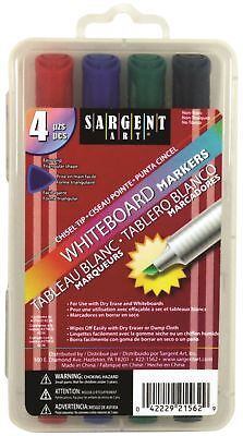 Sargent Art White Board Markers - Broad Chisel Tip - 4 Assorted Colors