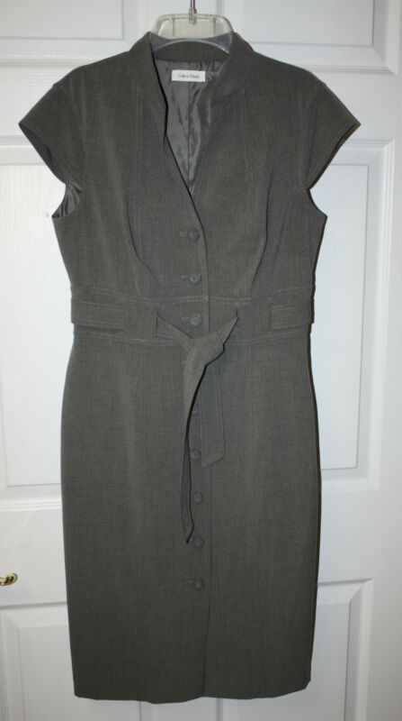 Womens Ladies Calvin Klein Gray Cap Sleeve Belted Dress Size 8M