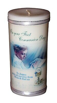 1st Communion Gifts For Boys ( 1st Holy Communion  personalised Gift candle for BOY Christian |Cellini)