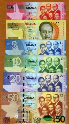 SET Ghana, 1;2;5;10;20;50 Cedis, 2014-2015, P-New, UNC