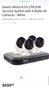Swann Wired 8CH 2TB DVR - 4 Bullet 4K  Security Cameras