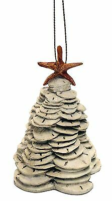Resin Sand Dollar Stacked Christmas Tree Ornament With Starfish Top