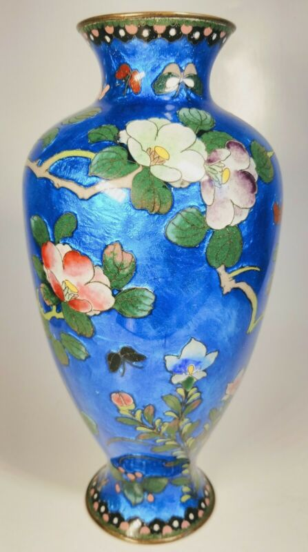 Antique 19th Century Japanese Fine Enamel Flowers and Butterflies on Brass Vase