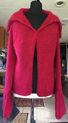 Sisley ladies chunky knit rose red mohair mix cardigan Size M segunda mano  Embacar hacia Spain