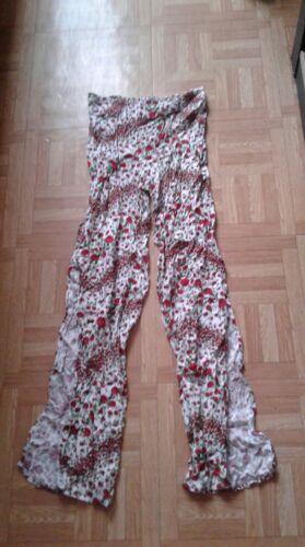 Pantalon fluide à jambes larges fleuri taille 32