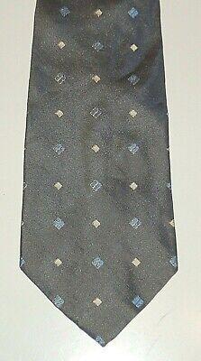 Krawatte Kravatte Binder  HUGO BOSS grau mit  blau/weiß/gelben Quadraten