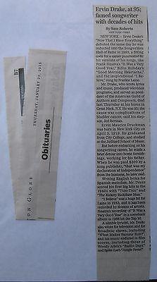 Obituary News Clippiing Boston Globe 1 22 2015 Ervin Drake 95  Famed Songwriter