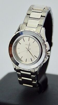 Dkny Silver Dial Watch (Ladies DKNY Silver Tone Round Dial Watch Round NY2115, New )