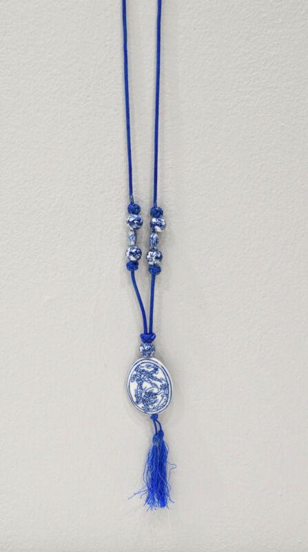 "Necklace Chinese Blue White Porcelain Pendant 38"""