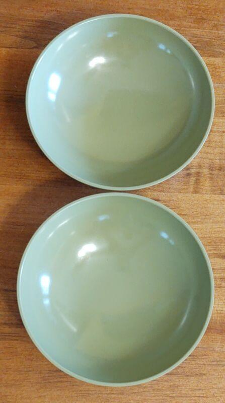 "Set of 2 Vintage Avocado Green Texas Ware Melmac Melamine 5-3/4"" Bowls G-2"