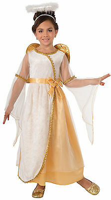 Girls Golden Angel Costume w/ Gold Wings Christmas Biblical Child Size SM 4-6