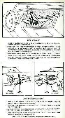 1961 Ford Thunderbird Jack Instruction Decal