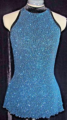 TEAL BLUE SPARKLE AND BLACK Ice Skating Dress / LADIES ADULT SMALL
