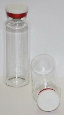 30 mL Tubular Clear Sterile Vial with White On Red Plain Flip Off Seal 3 Pack